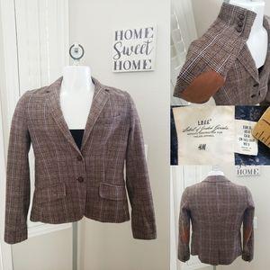 L.O.G.G Plaid Tweed Fitted 3 Button Blazer Wool 6